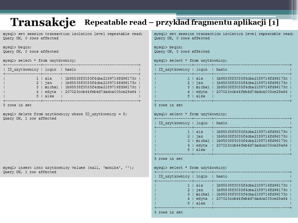 Transakcje Repeatable read – przykład fragmentu aplikacji [1]